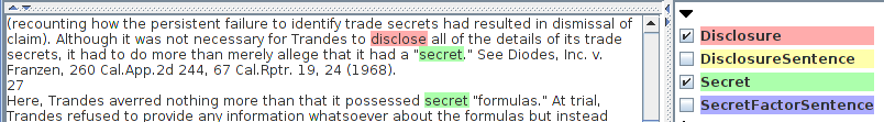 Annotations for Secret and Disclose Terms in Trandes v. Atkinson